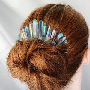 Silver Aura Quartz Crystal Hair Comb Crown